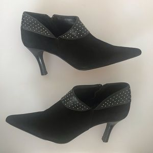 Vaneli suede and leather studded black booties